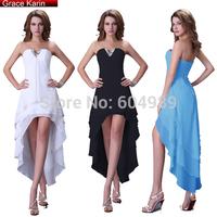 Free Shipping Grace Karin V neck Blue/Black/White High Low Cocktail Dress Short Front Long Back Prom Dress CL4099