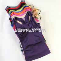 1pcs Free shipping fashion candy color seamless body shaping sports tank single-bra type vest ultra elastic #