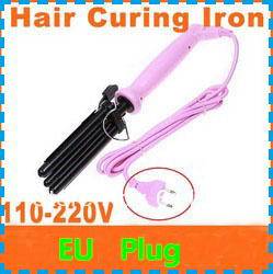 Hot selling! Free shipping dropshipping 3pcs/lot ion hair curling iron Pink Hair Curling Iron Three Barrel 110-220V (EU Plug)(China (Mainland))