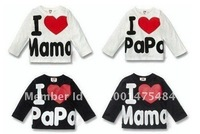 HOT Baby T shirt I Love Papa Mama Baby's T-shirts boy girl's long sleeves child t-shirt  in ll