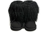 Sheepskin Hot 1875!Branded  Warm Real Fur Wool winter women mid-calf Rubber snow boot,Sand Black with original Box,free shipping