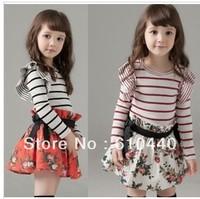 2014 New Arrival wholesale hot sale baby girls spring autumn long sleeve dress children striped +flower printing dress