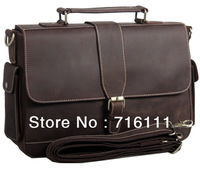 free shipping,HK post ,Mens Vintage Bull Real Leather handbag tote Briefcase Messenger Bag