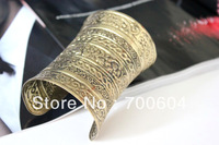 Free Shipping by Express,100pcs/lot, Punk Cheap Iron Men Style Metal Cuff Vintage Gold  Big Wide Gothic Bangle