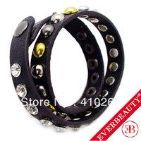EB 2013 fashion jewelry fine rivet wrapped leather bracelet wholesales full rhinestone crystal charm bracelet bangel mix color