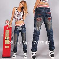 Free shipping 2014 Elastic waist harem pants jeans loose baggy jeans denim hip hop pants trousers Plus size harem jeans women