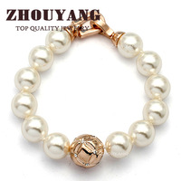 ZYH053 Imitation Pearl 18K Rose Gold Plated Bracelet Jewelry Made with Genuine  Austrian Crystals Wholesale
