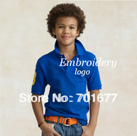 aged 2-6 15 colors brand logo short sleeve cotton children shirt with embroidery  5#0819