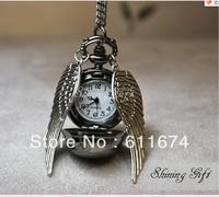 Min.order $10 (mix order) 2012 new Harry Potter  pocket watch necklace pendant golden snitch Necklace  black