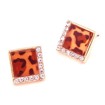 100% High quality !! leopard Square Geometry  Rhinestone Leopard Earrings Fashion Jewelry Women Free Shipping 2014 PT31