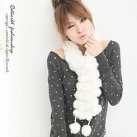 women's scarf Rabbit Pompom Fur Scarf Ring hotsale Free shipping  W4115
