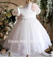 new ivory lace flower girl ball gown dress rosette bows baby v-neck tutu dress