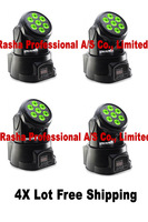 4pcs/LOT Factory Price Free shipping 7PCS*10W 4IN1 RGBW MINI LED Moving Head Light,Wash Light,American DJ Light