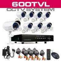 8 Channel D1 Surveillance DVR Recorder 8 pcs 36LED 600TVL IR CUT indoor/outdoor Weatherproof Security Camera System