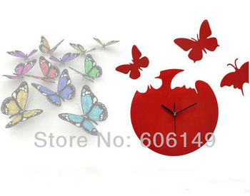 New Butterfly Clock Decor Wall Clock  Unique DIY Red / Black Good quality Wholesale Free shipping  By EMS  30pcs/lots