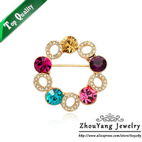 ZYX007 18K Gold Plated Elegant Colorful Sky Wheel Brooches Jewelry Austrian Crystal SWA Elements Wholesale