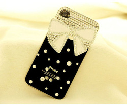 1PC Free Shipping Bulk 3d Butterfly Knot Design Luxury Diamond Bling Case Cover for iphone4g 4s with Retail Package Hot Selling(China (Mainland))