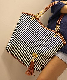 2012 women's handbag stripe canvas bag chain tassel hangings handbag fashion bag