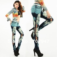 Free shippng 2014 beauty human head colored drawing printed woman jeans personality camouflage jeans legging women pencil jeans