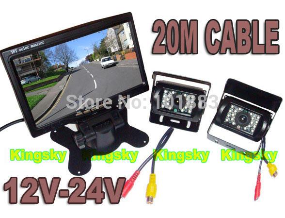 "24V Reversing parking Backup Camera 18 IR LED x 2+ 7"" LCD Monitor Car Rear View reverse Kit + 2 X 20m CABLE"