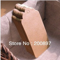 Wholesale 500pcs lot Blank price tag Kraft paper Gift tag with cords DIY brown paper kraft label paper TAGGING