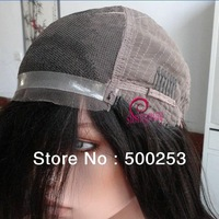 Sunnymay  Pu Glueless Cap Indian Remy Yaki Straight With Bang  Lace Front Human Hair Wigs