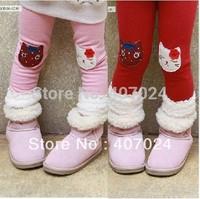 Hot sale cartoon leggings girls baby kids pants woolen thermal trousers 3 colors 5pcs/lot  570069J