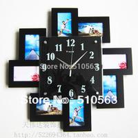 gz015 Free shopping 1pcs Photo wall clock fashionable sitting room creative individuality bedroom art frame mute clock wall