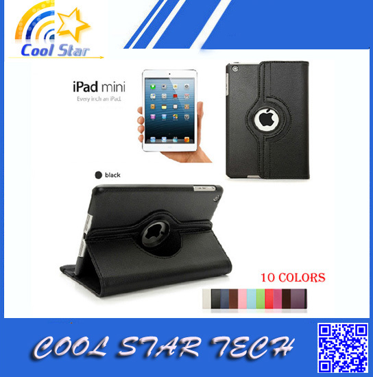 New Arrival Cheapest Protective Stand Cover For ipad mini case support 360 Rotating directions (10 colors),Freeshipping(China (Mainland))