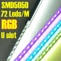 DHL/EMS FreeShipping 20pcs/Lot 72 Leds 1M/pc RGB Color Changing Rigid Led Strip Bar Light SMD 5050 With U type Aluminum Slot
