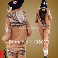 set 3 Autumn and winter sweatshirt piece set women's thickening fleece hooded plus size sweatshirt set