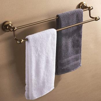 Double tier Aluminum Bathroom wall towel rack holder bath storage shelf antique brush bronze design bathroom accessories