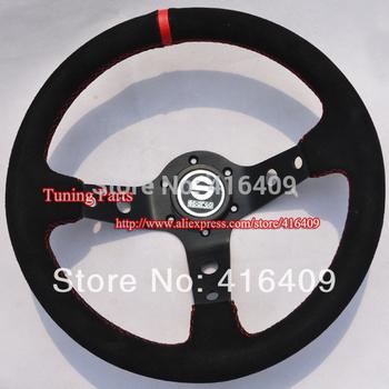 Sparc0 Steering Wheel Racing Car Steering Wheel (Suede Leather)