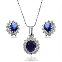 Valentine Gift KS052/KS056 18K Platinum Gold Plated Jewelry SET Earrings/Necklace ocean Blue Zircon Crystal