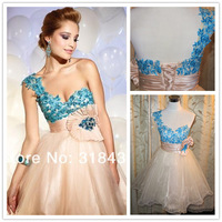Free Shipping BNS-7067 Elegant One Shoulder Floral Strap Ruched Short Prom Dress Cocktail Dress Party Dress Custom-made