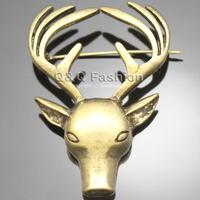Mens Mens Vintage Elk Deer Head Horn Elk Antler Stag Lapel Shirt Collar Brooch Pin Jewelry Free Shipping