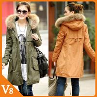 Free Shipping winter coat  jacket  women plus size 4XL army green,orange,black cotton fur coat women pocket cotton jacket women
