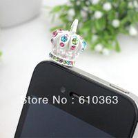 Min.order is $10 (mix order) Free Shipping Universal 3.5mm Crystal Crown cute anti dust dustproof Earphone Jack Plug , wholesale