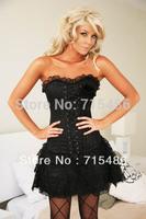 Hot Selling  Corset with Mini Skirt Fashion Corset  Black Lace Corset Dress