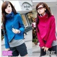 2013 autumn and winter women woolen outerwear women's short design slim woolen overcoat cloak outerwear,O-713