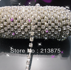 Free shipping Rhinestone Chain, SS16(4mm) crystal AAA stone, silver claw, glossy crystal bridal accessories ,1440pcs(China (Mainland))