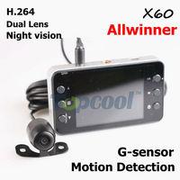 Car DVR dual lens X6 updated K6000 dual camera Car Video recorder with G-sensor + night vision Dashboard car registrator dvr cam