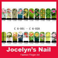 C6 Green Series - FREE SHIPPING 20 sheets Fashion Water Transfer Nails Art Stickers, Decals for Nail ITEM NO.000003