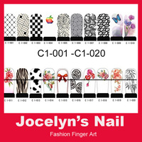 C1 White Series - FREE SHIPPING 20 sheets Full Cover Water decals Nail art tips sticker ITEM NO.000007