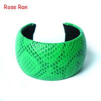 New Arrvial Fashion Brief  Broad Snakeskin Pattern PU Multi-color Bangles,Female Cool Item Metal Alloy PU Snake Skin  Bracelets