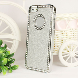 New arrival! Silver Luxury Bling Glitter Chrome Hard Cover Case For Apple iPhone 5 5G 5th+Pen Free shipping&Wholesale(China (Mainland))