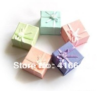 Hot Promotion ! Wholesale 96pcs/lot Mini Assorted Color Jewelry Ring Box 40x40x30mm Jewelry Packaging Gift Case Free Shipping
