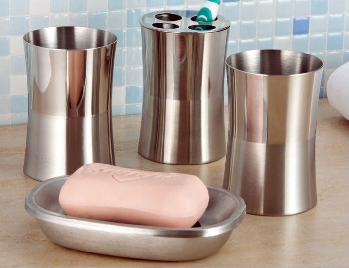 Bathroom sets stainless steel metal wash gargle suit set bath hardware set metal toothbrush rack holder metal tooth mug 4pc/set(China (Mainland))