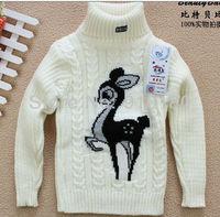 3pcs/lot baby boys girl's fashion Knitted Christmas deer bottoming shirts/sweater kids reindeer turtleneck cardigan