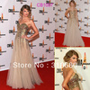 Taylor Swift Sweetheart Neckline Tulle Gold Sequin Floor Length Dresses